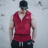 Muscle Brother Fitness Hooded Sports Sleeveless Vest Thin Section Slim Fit Men Jacket Running Training Tide Cut Sleeve Vest Red Free Shipping