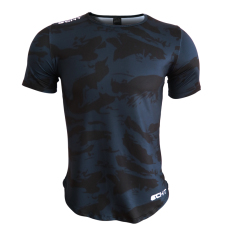 Discount Muscle Brother Running Clothes Male Fitness Sports Short Sleeved Slim Fit Clothes Outdoor Training Round Neck Casual Top T Shirt Shirt Dark Blue Color