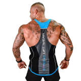 Sale Muscle Summer Sports Vest Male Brother Slim Fit Outdoor Fitness Running Casual Sleeveless Training Suit Top Workers Back Black Plus Blue Online China