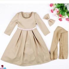 Price Muslim Girls Abaya Dress Scarf Islamic Kids Lace Kaftan Hijab Arab Childer Robe T338 Color Beige Intl Not Specified Original