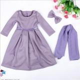 Cheapest Muslim Girls Abaya Dress Scarf Islamic Kids Lace Kaftan Hijab Arab Childer Robe T338 Color Purple Intl