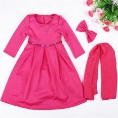 Sale Muslim Girls Abaya Dress Scarf Islamic Kids Lace Kaftan Hijab Arab Childer Robe T338 Color Rose Intl Not Specified Wholesaler