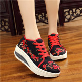 Buy National Style Lace Student Platform Shoes Cloth Shoes Meihua Black Oem