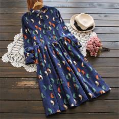 Where To Buy National Style Wick Velvet Printed Long Sleeved Mid Length Dress Shirt Dress
