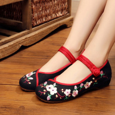 Discount National Style Female Spring New Style Embroidered Shoes Beijing Old Shoes Four Color Plum Black Other
