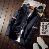 Sale Clean Color Men Slim Fit Clothes And White Shirt Long Sleeve Shirts Dark Blue Color Dark Blue Color Online On China