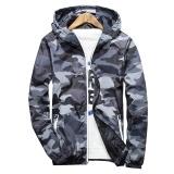 Cheap New 2017 Autumn Hooded Jacket Men Thin Military Jacket Fluorescent Zipper Features Windbreakers Blue Jacket Plus Size 4Xl 5Xl Gray Intl