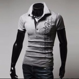 Price Comparisons For New 2017 New Summer Fashion Short Sleeve Tops Tees Polo T Shirt Men T Shirt Print Letters Slim Fit Casual Men Grey Intl