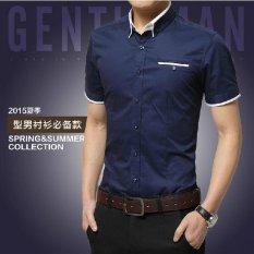 New Korean Style Cotton Solid Color Men S Shirts Shirt Navy Blue