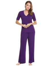 Lowest Price New Arrival Astar Women Casual V Neck Short Sleeve Tops And Solid Elastic Waist Wide Legs Pants Pajama Sets Purple Intl