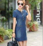 For Sale New Arrival Summer Women Denim Dresses Short Sleeves Loose A Word Dresses Plus Sizes V Neck Solid Denim Dresses Dark Blue
