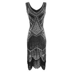 New Arrival Sunweb 1920S Style Sleeveless Sequins Fringe Trim Flapper Dresses Silver Intl Shop