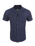 Buy Cheap New Arrival Sunweb Men Lapel Short Sleeve Striped Casual Front Button Shirts With Pocket Blue Intl