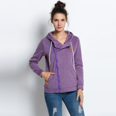 Price Compare New Arrival Sunweb Sports Ladies Women Hoody Casual Zipper Hooded Long Sleeve Solid Sweatshirt Hoodie Pullover Top Purple Intl