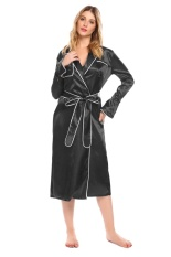 New Arrival Sunweb Women Long Flare Sleeve Satin Robe Sleepwear Black Intl Price Comparison