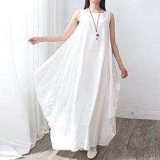 New Arrival Zanzea Fashion Womens Cotton Linen Dress Casual Loose Long Maxi Elegant Vestidos Plus Size Chinese Style White Intl Coupon Code