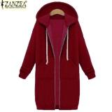 The Cheapest New Arrival Zanzea Winter Coats Jacket Women Long Hooded Sweatshirts Coat Casual Zipper Outerwear Hoodies Plus Size Wine Red Intl Online