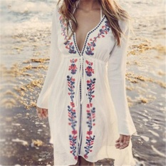 18a4b9058 New Arrivals Beach Cover up Embroidery Vintage Swimwear Ladies Tunics Kaftan  Beach Dress Beach Wear Women