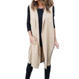 Wholesale New Arrivals Fashion Women Casual Sleeveless Long Trench Duster Coat Cardigan Suit Vest Waistcoat Intl