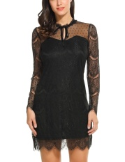 Compare New Astar Lady Lace Up O Neck Long Sleeve Sheer Lace Mesh Slim Cocktail A Line Dress Intl Prices