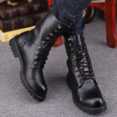 New Black Combat Leather Lace Up Men S Military Ankle Boots Shoes European Style Intl Shopping