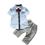 Latest New Brand Kids Clothing Sets Boys Short Sleeve Bow Tie T Shirt Stripe Short Pants 2Pcs Suits For Toddler Boys Clothes Blue Intl