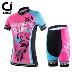New Cheji Women Cycling Clothing Bike Bicycle Short Sleeve Quick Dry Sports Clothing Jersey Sets Pink Blue Intl Deal