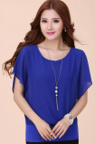 Sale New Double Layer Fashion Was Thin Bat Sleeve Chiffon Blouse Plus Size Xl Xxxl Xxxxxl Blue Oem Online