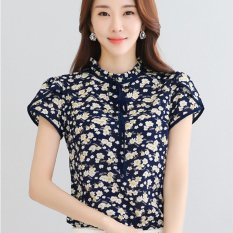 Buy Cheap New Elegant Floral Print Shirt Women Ol Slim Stand Collar Short Sleeve Chiffon Blouse Office Ladies Work Wear Plus Size Tops 3Xl Dark Blue Intl