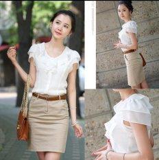 New Elegant OL Summer Shirt Women Formal Embroidered Slim Petal Sleeve Chiffon Blouse Office Ladies Work
