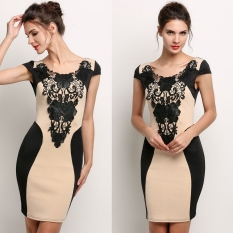 Low Price New Elegant Women Sleeveless Lace Neck Dress O Neck Print Backless Evening Party Dress Intl