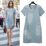 Buy New Fashion Beaded Loose Short Sleeved Denim Dress Plus Size Intl Oem Original