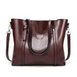 New Fashion Handbags Big Bag Wild Shoulder Messenger Bag Simple Oil Wax Leather Portable(Cofee) Intl Extreme G Discount