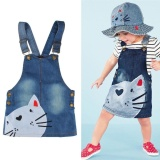 Retail Price New Fashion Kids Cute Cat Toddler Baby Princess Party Pageant Denim Dresses Intl