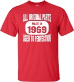 Price Comparisons Of New Fashion Mens T Shirt Made In 1969 All Original Parts Aged To Perfection Diy Short Sleeve Tee Red Intl