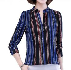 Buy New Fashion V Neck Stripes Chiffon Blouses Slim Women Chiffon Blouse Office Work Wear Shirts Women Tops Plus Size Blusas 4Xl Blue Intl Online