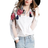 Price New Fashion Women Long Sleeve Embroidery Floral Print Blouse Elegant Collar Organza Patchwork Shirts White China