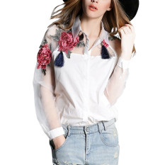 Sale New Fashion Women Long Sleeve Embroidery Floral Print Blouse Elegant Collar Organza Patchwork Shirts White Zanzea