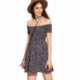 Price New Fashion Women Off Shoulder Short Sleeve S*xy Strapless Floral Printed Pleated Mini Dress Intl On China