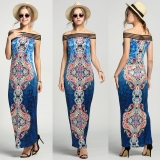 Best Offer New Fashion Women S*xy Off Shoulder Long Boho Style Maxi Print Beach Dress Intl