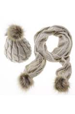 New Fashion Women Winter Warm Scarf Hat Set Shawl Wrap Beanie Skull Ski Knit Cap Beige Intl Best Buy
