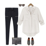 Retail Price New Fashion Womens Button Down Collar Loose Linen Casual Shirt White Autoleader