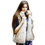 Discount New Fashion Women S Faux Fur Vest Medium Long Stand Collar Coat Vest China