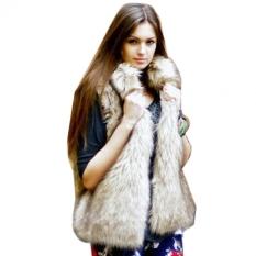 Compare New Fashion Women S Faux Fur Vest Medium Long Stand Collar Coat Vest