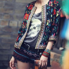 New Fashion Womens National Wind Printed Thin Jackets 3/4 Sleeve Slim Coat C542 Color Black - Intl By Crazy Store.