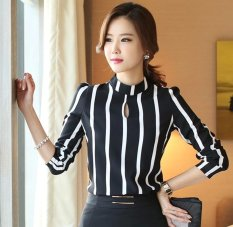 Discount New Fashion Women S Shirt Slim Striped Long Sleeve Blouses Office Ladies Plus Size Tops Black Intl China