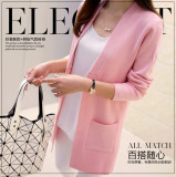 Compare Price New High Quality Women Spring Autumn Medium Long Cardigan 2017 New Female Elegant Pocket Knitted Outerwear Sweater Cape Top Xl Pink Oem On China
