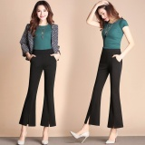 Retail Price New High Waist Women 2017 Fashion Stretch Office Work Pants Plus Size Wide Leg Ladies Formal Trousers Black Female Intl