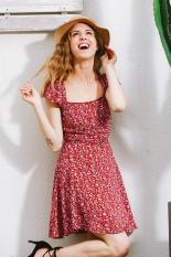 Sale New High Waisted Female Piles Collar Dress Red