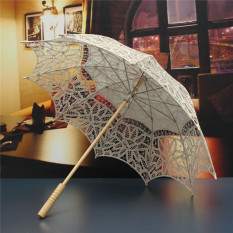 Review New Ivory White Lace Pure Cotton Embroidery Wedding Umbrella Bridal Parasol Beige Intl Intl Not Specified On China